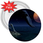 Goth Moonbathing Skull and Dolphin 3  Button (10 pack)