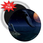 Goth Moonbathing Skull and Dolphin 3  Magnet (10 pack)