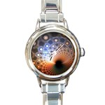 Peacock Bubbles Fractal Fantasy Round Italian Charm Watch