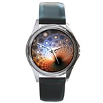 Peacock Bubbles Fractal Fantasy Round Metal Watch