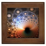 Peacock Bubbles Fractal Fantasy Framed Tile