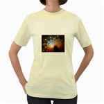 Peacock Bubbles Fractal Fantasy Women s Yellow T-Shirt