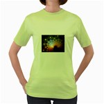 Peacock Bubbles Fractal Fantasy Women s Green T-Shirt