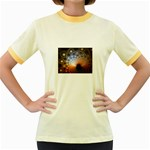 Peacock Bubbles Fractal Fantasy Women s Fitted Ringer T-Shirt