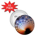 Peacock Bubbles Fractal Fantasy 1.75  Button (10 pack)