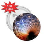 Peacock Bubbles Fractal Fantasy 2.25  Button (100 pack)