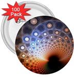 Peacock Bubbles Fractal Fantasy 3  Button (100 pack)