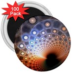 Peacock Bubbles Fractal Fantasy 3  Magnet (100 pack)