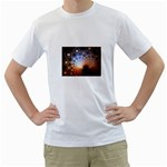 Peacock Bubbles Fractal Fantasy White T-Shirt
