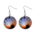 Peacock Bubbles Fractal Fantasy 1  Button Earrings