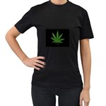 Pot Leaf ^ Women s Black T-Shirt