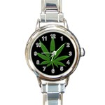 Pot Leaf ^ Round Italian Charm Watch