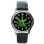 Pot Leaf ^ Round Metal Watch
