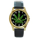 Pot Leaf ^ Round Gold Metal Watch
