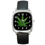 Pot Leaf ^ Square Metal Watch