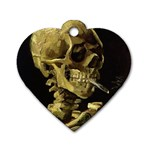 Skull With Cigarette ^ Dog Tag Heart Necklace (Two Sides)