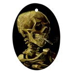 Skull With Cigarette ^ Oval Ornament (Two Sides)