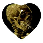 Skull With Cigarette ^ Heart Ornament (Two Sides)
