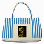 Skull With Cigarette ^ Striped Blue Tote Bag