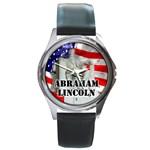 ABRAHAM LINCOLN Statue President U.S. Flag Round Metal Watch