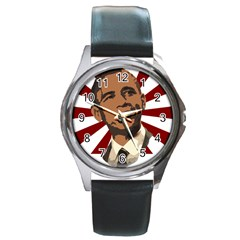 Cool Obama Round Metal Watch from DesignYourOwnGift.com Front