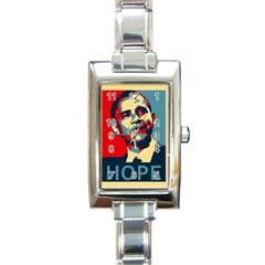 obama hope Rectangular Italian Charm Watch from DesignYourOwnGift.com Front
