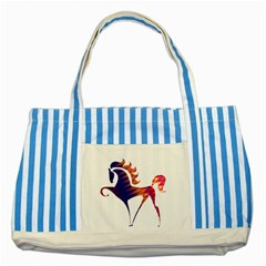 Design Your Own Personalized Blue Striped Tote Bag