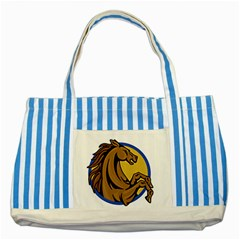 Horse circle Striped Blue Tote Bag from UrbanLoad.com Front