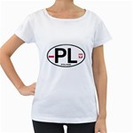 Poland Euro Oval - PL Maternity White T-Shirt