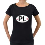 Poland Euro Oval - PL Maternity Black T-Shirt