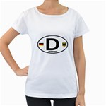 D - Germany Euro Oval Maternity White T-Shirt
