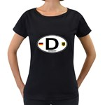 D - Germany Euro Oval Maternity Black T-Shirt