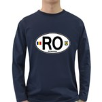 RO - Romania Euro Oval Long Sleeve Dark T-Shirt
