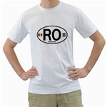 RO - Romania Euro Oval White T-Shirt