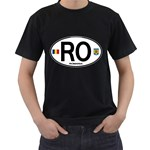 RO - Romania Euro Oval Black T-Shirt