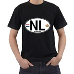 NL - Netherlands Euro Oval Black T-Shirt