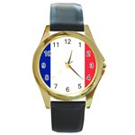French Flag Round Gold Metal Watch
