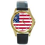 American Flag Round Gold Metal Watch