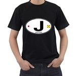 J - Japan Euro Oval Black T-Shirt