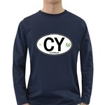 CY - Cyprus Euro Oval Long Sleeve Dark T-Shirt