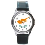 Cypriot Flag Round Metal Watch