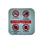Subway_sign Rubber Square Coaster (4 pack)