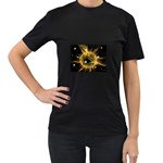ikon06b-42458 Women s Black T-Shirt (Two Sides)