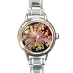 abstract-flowers-984772 Round Italian Charm Watch