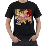 abstract-flowers-984772 Black T-Shirt (Two Sides)
