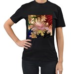 abstract-flowers-984772 Women s Black T-Shirt (Two Sides)