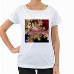 abstract-flowers-984772 Maternity White T-Shirt