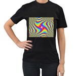 Disco-Party-Style-413640 Women s Black T-Shirt (Two Sides)