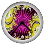 sonic_yellow_wallpaper-120357 Wall Clock (Silver)
