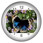 butterfly_4 Wall Clock (Silver)